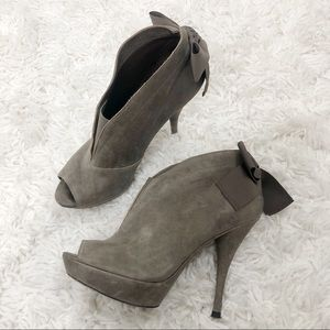 Vera Wang Royce Back Bow Peep Toe Heel Bootie Gray